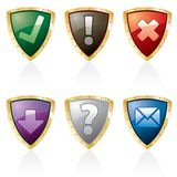 Triangl shield buttons Stock Images