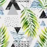 Trianglar med palmträdsidor, klotter, marmor, grungetexturer, geometriska former i 80-tal, minsta stil för 90-tal stock illustrationer