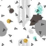 Trianglar och abstrakt begreppfärgfläckar seamless modell Geometrisk bakgrund för räkningar, textil klotter royaltyfri illustrationer