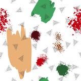 Trianglar och abstrakt begreppfärgfläckar seamless modell Geometrisk bakgrund för räkningar, textil klotter vektor illustrationer