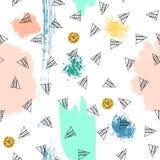 Trianglar och abstrakt begreppfärgfläckar seamless modell Geometrisk bakgrund för räkningar, textil klotter stock illustrationer