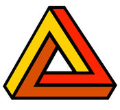Triangle. Twisting triangle logo in yellow, orange and red Stock Images