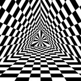 Triangle Abyss. Black and White Rectangles Expanding from the Center. Optical Illusion of Volume and Depth Royalty Free Stock Images
