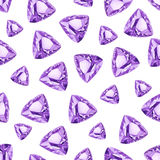 Triangle amethysts watercolor seamless vector pattern Royalty Free Stock Images
