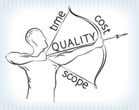 Triangle Archer de gestion des projets Images libres de droits