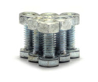 Triangle arrangement of bolts with nuts Stock Image