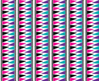 Triangle Aztec Seamless Pattern Bold Bright. In white, black, pink, purple and blue Stock Image