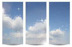 Triangle backgrounds with blue sky and clouds Stock Images