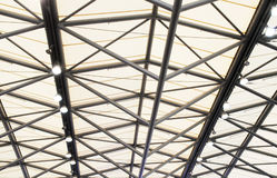 The triangle beam. The triangle aluminum alloy beam under the glass roof Stock Photos