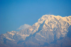 Triangle of the big snow mountains in Pokhara Royalty Free Stock Photo