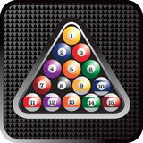 Triangle of billiard balls. Triangle filled with a full set of billiard balls Stock Photography