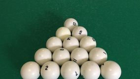 Triangle of billiard balls in the cafe stock video footage