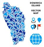 Triangle bleue Dominica Island Map illustration stock