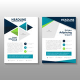 Triangle Blue Green annual report Leaflet Brochure Flyer template design, book cover layout design Royalty Free Stock Photography