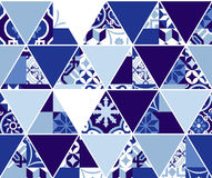 Triangle blue pattern with classic mosaic tile art Stock Photos