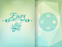 Triangle and blured abstract background and lettering Enjoy your life. Vector geometrical pattern Stock Images