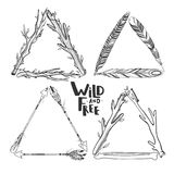 Triangle boho frames. Set of vector boho triangle frames isolated on white with feathers, arrows, sticks Stock Image