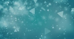 Triangle bokeh defocused lights seamless animation loop 4K video. High quality looping animation of abstract cyan blue background with triangle bokeh defocused vector illustration
