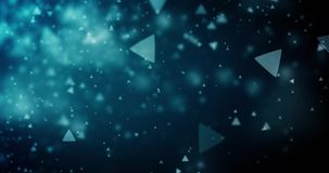 Triangle bokeh defocused lights seamless animation loop 4K video. High quality looping animation of abstract dark blue background with triangle bokeh defocused stock footage