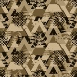 Triangle brown camo fern bold seamless vector pattern. Geometric repeating camouflage background Royalty Free Stock Image