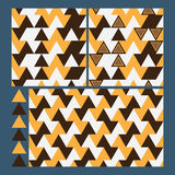 Triangle brown orange fabric set seamless pattern Royalty Free Stock Photos