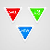 Triangle buttons for sale Stock Photo