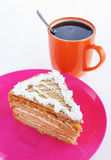 Triangle cake and cup of coffee Stock Images