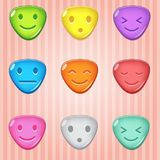 Triangle candy block puzzle colorful button glossy jelly in different color. 2d asset for user interface GUI in mobile application or casual video game. Vector Stock Image
