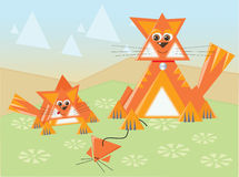 Triangle cats. Cats made of triangles in a triangle-land Stock Image