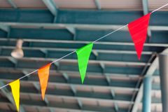Triangle celebration flags in songkran festival. In thailand royalty free stock images