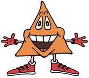 Triangle Character. Triangle shaped corn-chip cartoon figure Royalty Free Stock Photography
