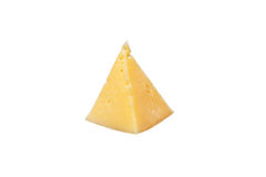 A triangle of cheese on a white Stock Photos
