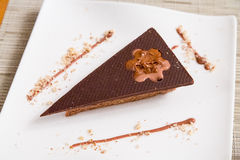 Triangle Chocolate cake. Top view of a triangle chocolate cake in a white plate stock photo