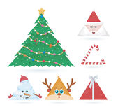 Triangle Christmas Ornaments. Vector set of triangle christmas ornaments Stock Images