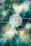 Triangle and Circle Abstract Background. Abstract background with triangles and circle stock illustration