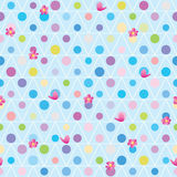 Triangle circle bird flower friend seamless pattern. This illustration is triangle accept circle changed, flower and bird stand in front, abstract feminine in Royalty Free Stock Images