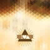 Triangle coffee brown color. Abstract background with triangles. coffee brown color. Geometric shapes. Place text on top Stock Photo