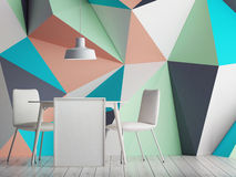 Triangle color wall with white mock up poster, Royalty Free Stock Photo