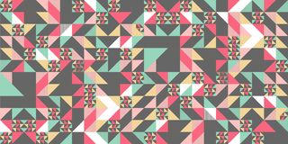 Triangle colorful pattern background for fashion textile print. Good for pillow, carpet, and blanket cover wrapping with trendy. Colors retro element vector royalty free illustration