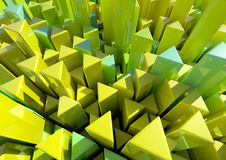 Triangle Columns. Triangular Columns in Green and Yellow Shades Stock Photography