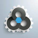 Triangle Connected Circles Gears Infographic. Infographic with connected circles and gears on the gray background royalty free illustration