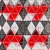 African triangle continuous pattern in red, white and grey stock illustration