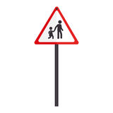 Triangle contour road sign for students school Stock Photo