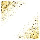 Frame or border of stars. Triangle corner gold frame or border of random scatter stars on white background. Design element for festive banner, birthday and Stock Image