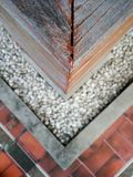 Corner close up view. Triangle corner pattern gravel and floor royalty free stock photos