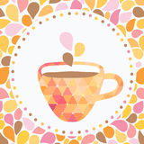 Triangle cup of tea or coffee with doodle steam. Stock Images