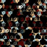 Triangle dark camouflage pattern, colorful triangles on dark background. Triangle dark camouflage pattern on dark background Stock Image