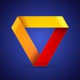 Triangle de papier colorée d'origami de Moebius Image libre de droits