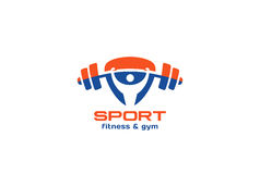 Triangle de vecteur de conception de logo de forme physique de gymnase de sport Photos stock