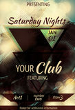 Triangle design night club flyer. Retro Abstract triangle design light effect club flyer Royalty Free Stock Image
